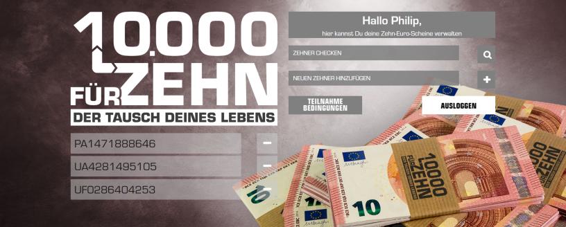 10.000 für Zehn Screenshot Webseite