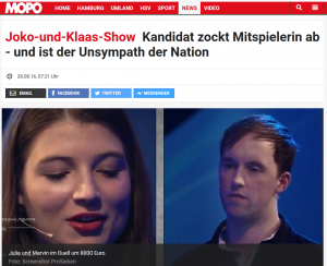 """MOPO Screenshot Marvin Kandidat bei """"Die Beste Show der Welt"""""""
