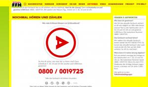 Webseite vom FFH-Gewinnspiel Lauschrausch